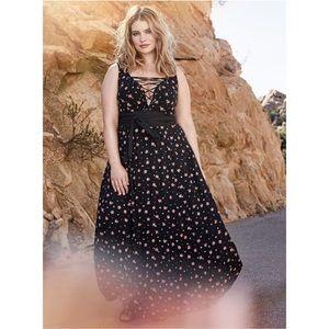 Torrid Insider Lace Up Floral Black Maxi Dress EUC